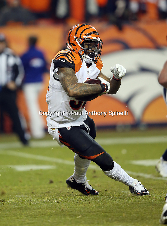 Cincinnati Bengals running back Jeremy Hill (32) runs the ball during the 2015 NFL week 16 regular season football game against the Denver Broncos on Monday, Dec. 28, 2015 in Denver. The Broncos won the game in overtime 20-17. (©Paul Anthony Spinelli)