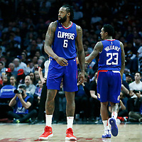 31 December 2017: LA Clippers center DeAndre Jordan (6) is seen next to LA Clippers guard Lou Williams (23) during the LA Clippers 106-98 victory over the Charlotte Hornets, at the Staples Center, Los Angeles, California, USA.