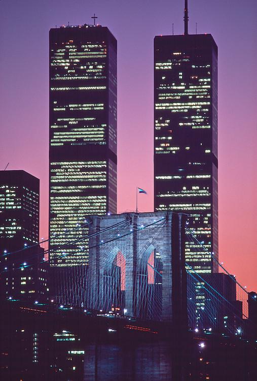 Brooklyn Bridge And Twin Towers New York City Ny Bridge