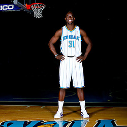 December 14, 2011; New Orleans, LA, USA; New Orleans Hornets forward Moses Ehambe (31) poses for a photo during Media Day at the New Orleans Arena.   Mandatory Credit: Derick E. Hingle-US PRESSWIRE