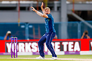 Half an appeal from England ODI all rounder David Willey early on in the Indian innings during the 3rd Royal London ODI match between England and India at Headingley Stadium, Headingley, United Kingdom on 17 July 2018. Picture by Simon Davies.