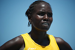 09 JUN 2012: Aliphine Tuliamuk of Wichita State reacts to her finish in the women's 5000 meter race in the Division I Men's and Women's Outdoor Track and Field Championship held at Drake Stadium on Drake University in Des Moines, IA. Tuliamuk took fifth with a time of 16:18.61. Joshua Duplechian/NCAA Photos