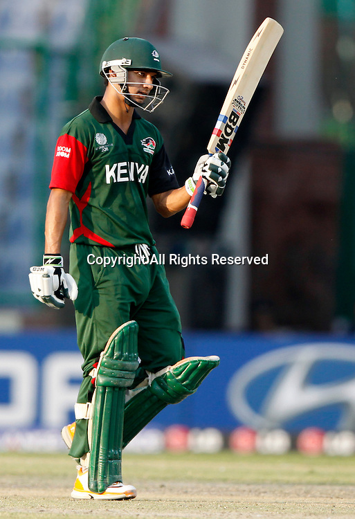 07.03.2011 Cricket World Cup from the Feroz Shah Kotla stadium in Delhi. Canada v Kenya. Tanmay Mishra celebrates his fifty during the match of the ICC Cricket World Cup between Canada and Kenya