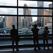 People looking over ground zero