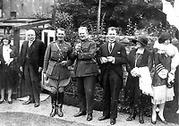 Bremen Flight 1928. <br /> <br /> Major Fitzmaurice on left (in high boots). James Fitzmaurice DFC (6 January 1898 &ndash; 26 September 1965) was an Irish aviation pioneer. He was a member of the crew of the Bremen, which made the first successful Trans-Atlantic aircraft flight from East to West on 12&ndash;13 April 1928.<br /> <br /> The Bremen is a German Junkers W33 type aircraft that made the first successful transatlantic aeroplane flight from east to west between April 12 and April 14, 1928.<br /> <br /> The Bremen left Baldonnel Aerodrome, Ireland on April 12 and flew to Greenly Island, Canada, (about 1,200 miles from New York) arriving on April 14, 1928, after a flight fraught with difficult conditions and compass problems. The crew consisted of pilot Captain Hermann K&ouml;hl; the navigator, Major James Fitzmaurice, and the owner of the aircraft, Ehrenfried G&uuml;nther Freiherr von H&uuml;nefeld.<br /> (Part of the NPA and Independent Newspapers)