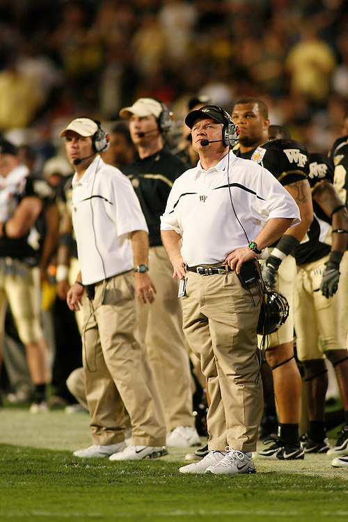 Wake Forest University head coach Jim Grobe watches from the sideline during the Louisville Cardinals 24-13 victory over the Wake Forest Demon Deacons at the 2007 Orange Bowl Game on January 2, 2007 at the Dolphin Stadium in Miami, Florida.
