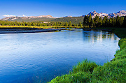 Cathedral Peak from the Tuolumne River, Tuolumne Meadows, Yosemite National Park, California USA