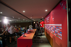 DOHA, QATAR - Friday, December 20, 2019: Liverpool's goalkeeper Alisson Becker arrives for a press conference ahead of the FIFA Club World Cup Qatar 2019 Final match between CR Flamengo and Liverpool FC at the Khalifa Stadium. (Pic by Peter Powell/Propaganda)