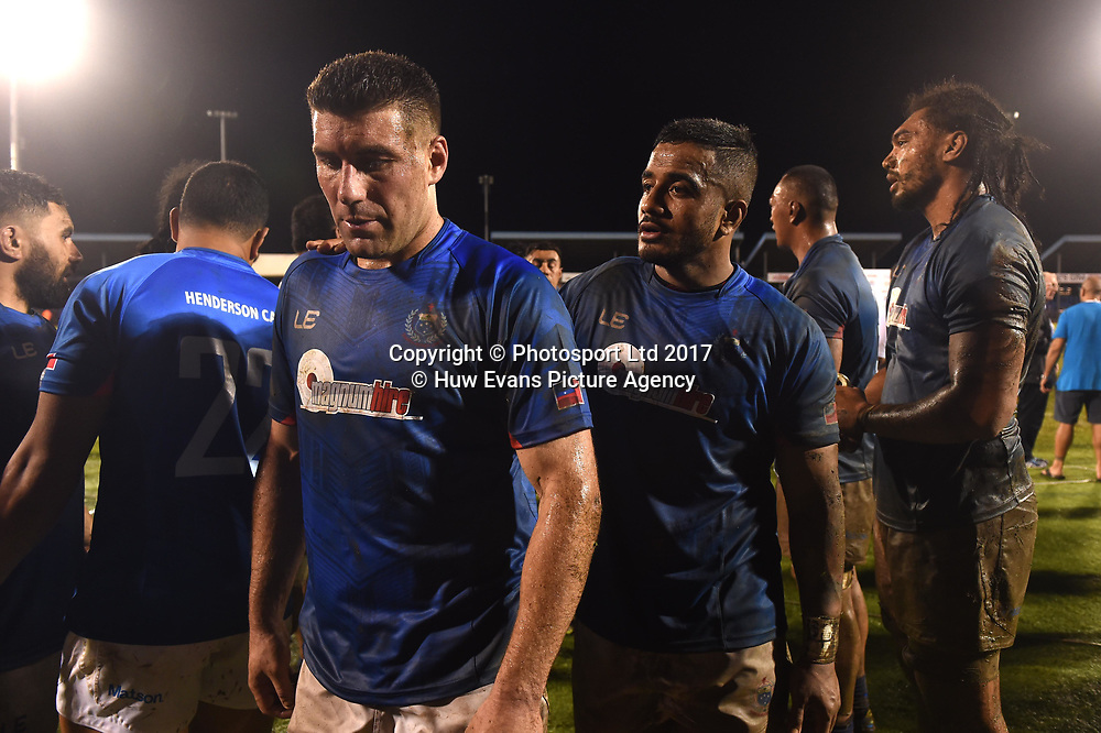 23.06.17 - Samoa v Wales -<br /> Kieron Fonotia and Rey Lee-Lo of Samoa look dejected at the end of the game.<br /> Copyright photo: Ben Evans / www.photosport.nz