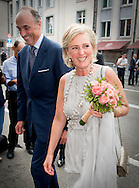 20-7-2015 - BRUSSEL - Prince Lorenz of Belgium and Princess Astrid of Belgium arrive for a prelude concert by the Belgian National Orchestra on the eve of Belgium's National Day, Monday 20 July 2015, at Bozar in Brussels. COPYRIGHT ROBIN UTRECHT 20-7-2015 - BRUSSEL - Prins Lorenz van België en prinses Astrid van België komen voor een prelude concert van het Nationaal Orkest van België aan de vooravond van België de Nationale Dag, maandag 20 juli 2015 in Bozar in Brussel. COPYRIGHT ROBIN UTRECHT