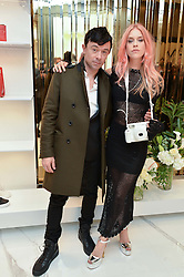 LADY MARY CHARTERIS and ROBBIE FURZE at the launch of the new Giusepe Zanotti store in Conduit Street, London on 26th October 2016.