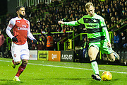 Forest Green Rovers Nathan McGinley(19) crosses the ball during the EFL Trophy group stage match between Forest Green Rovers and U21 Arsenal at the New Lawn, Forest Green, United Kingdom on 7 November 2018.