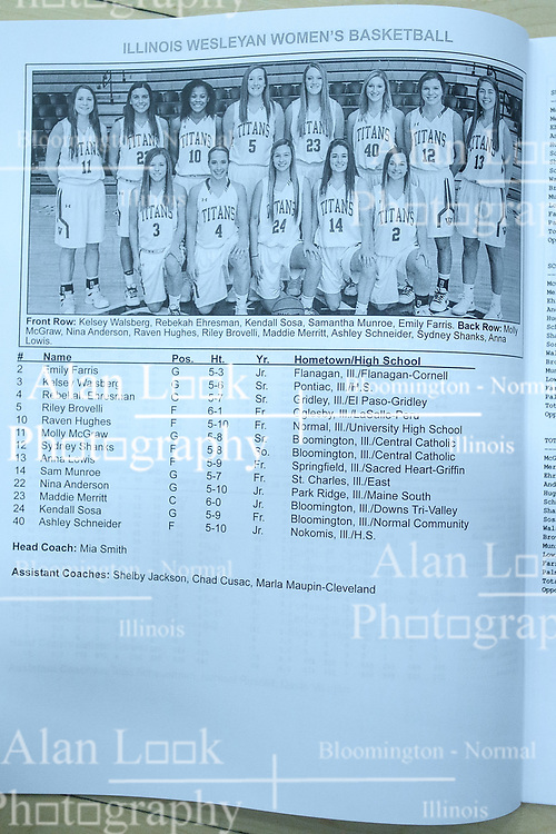 23 February 2018:  roster during an NCAA women's CCIW Semi-Final basketball game between the Elmhurst Bluejays and the Illinois Wesleyan Titans in Shirk Center, Bloomington IL