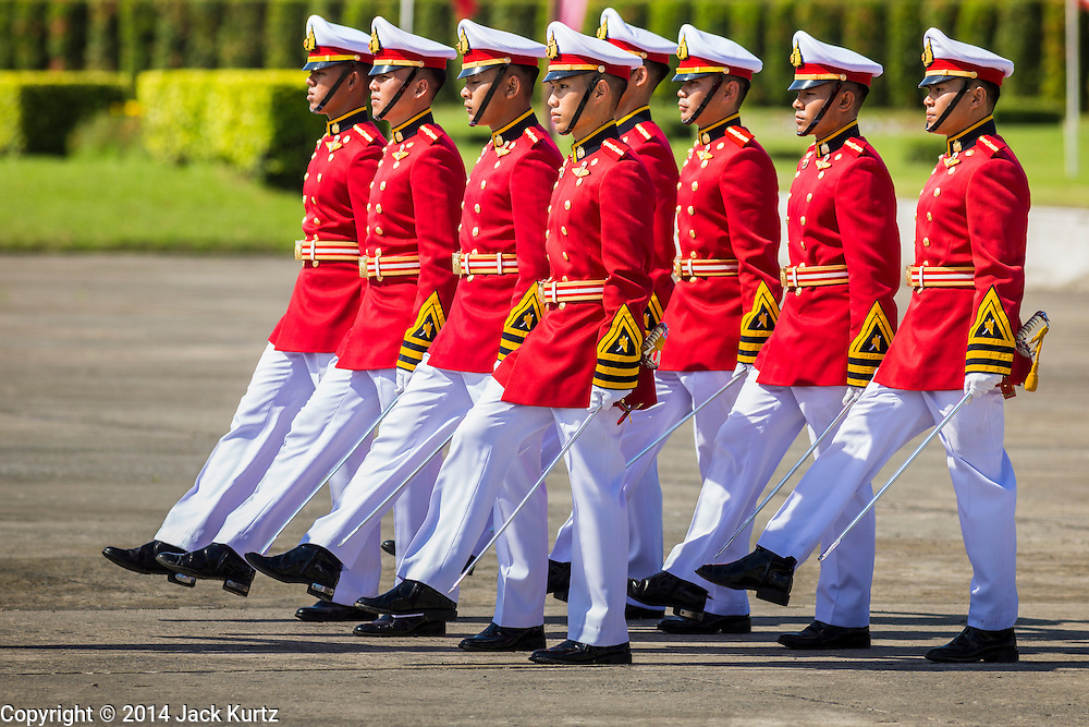 29 SEPTEMBER 2014 - NAKHON NAYOK, NAKHON NAYOK, THAILAND: Thai military cadets march onto the parade ground at Chulalomklao Royal Military Academy during the retirement ceremony for more than 200 Thai generals including Gen. Prayuth Chan-ocha, who led the 22 May coup against the civilian government earlier this year. Prayuth has been chief of the Thai army since 2010. After his retirement, Gen. Prayuth will retain his posts as head of the junta's National Council for Peace and Order (NCPO) and Prime Minister of Thailand. Under Thai law, military officers must retire at 60 years of age. The 200 generals who retired with Prayuth were also his classmates at the Chulalomklao Royal Military Academy in Nakhon Nayok.    PHOTO BY JACK KURTZ