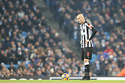 Jonjo Shelvey during the Premier League match between Manchester City and Newcastle United at the Etihad Stadium, Manchester, England on 20 January 2018. Photo by George Franks.