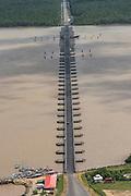 Pontoon bridge Berbice river<br /> Berbice River<br /> East GUYANA<br /> South America