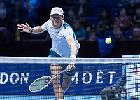 Tennis - 2017 Nitto ATP Finals at The O2 - Day Two<br /> <br /> Mens Doubles: Group Woodbridge/Woodforde: Jamie Murray (Great Britain) & Bruno Soares (Brazil) Vs Bob Bryan (United States) & Mike Bryan (United States)<br /> <br /> Bob Bryan (United States) races to the ball as it crosses the net at the O2 Arena<br /> <br /> COLORSPORT/DANIEL BEARHAM