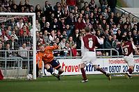 Photo: Marc Atkins.<br /> <br /> Northampton Town v Stockport County. Coca Cola League 2. 17/04/2006. Scott McGleish scores his second.