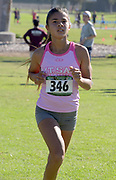 Rebecca Ruiz of Mt. San Antonio College places fourth in the women's race in 17:48.9 during the Southern California Community College cross country finals in Cerritos, Calif., Friday, Nov. 2, 2018. (Kirby Lee via AP)