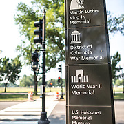 National Mall Monuments Sign. One of the new National Park Service signs next to the National Mall pointing out nearby landmarks.