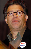 PHILADELPHIA - OCTOBER 30: Author and commentator Al Franken speaks to MoveOn PAC members at a Super Rally held at the Sheet Metal Workers Union Hall October 30, 2004 in Philadelphia, Pennsylvania. Al Franken served as keynote speaker for the rally, along with Julia Stiles, Vanessa Carlton, and Jessica Lange as they campaigned for Democratic Presidential candidate Sen. John Kerry. (Photo by William Thomas Cain/Getty Images)