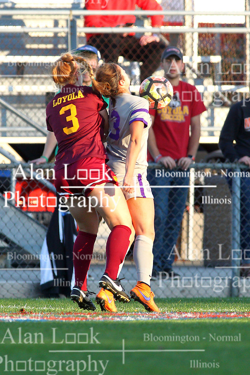 04 November 2016:  Montana Portenier gets in front of Taylor Lambouris during an NCAA Missouri Valley Conference (MVC) Championship series women's semi-final soccer game between the Loyola Ramblers and the Evansville Purple Aces on Adelaide Street Field in Normal IL
