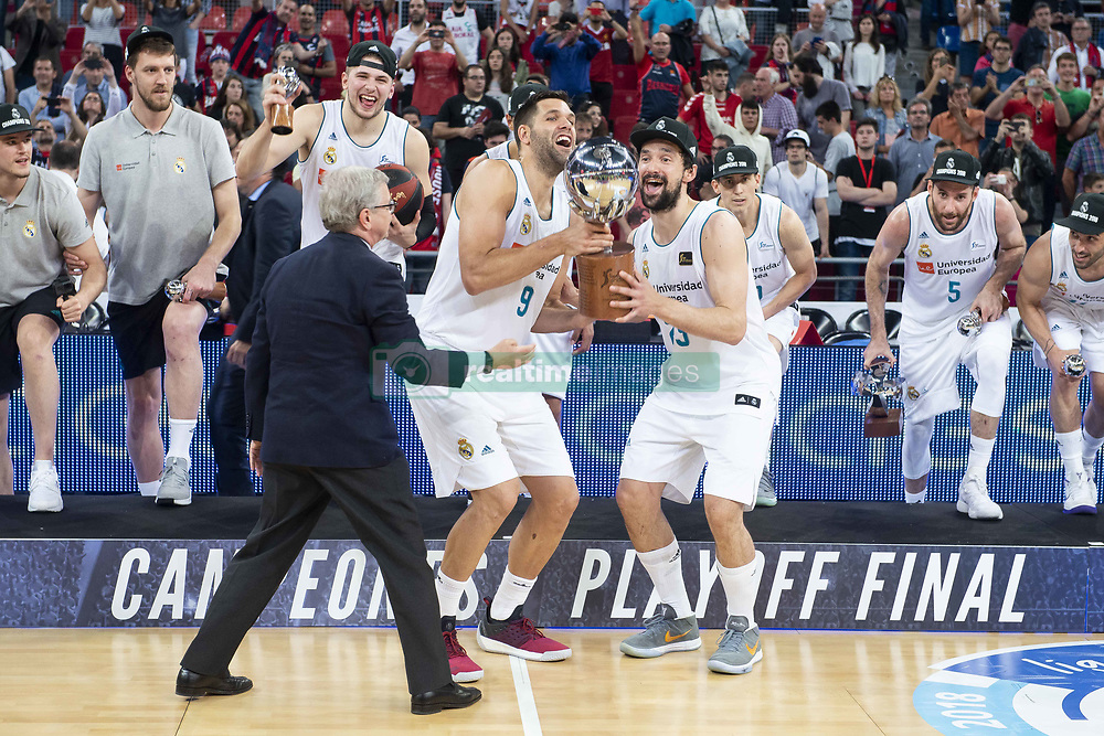 June 19, 2018 - Vitoria, Spain - Real Madrid Felipe Reyes and Sergio Llull celebrating the championship after Liga Endesa Finals match (4th game) between Kirolbet Baskonia and Real Madrid at Fernando Buesa Arena in Vitoria, Spain. June 19, 2018. (Credit Image: © Coolmedia/NurPhoto via ZUMA Press)