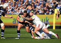 Max Lahiff of Bath Rugby is tackled - Mandatory byline: Robbie Stephenson/JMP - 07966386802 - 31/10/2015 - RUGBY - Recreation Ground -Bath,England - Bath Rugby v Harlequins - Aviva Premiership