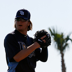 February 20, 2011; Port Charlotte, FL, USA; Tampa Bay Rays pitcher J.P. Howell (39) during spring training at Charlotte Sports Park.  Mandatory Credit: Derick E. Hingle