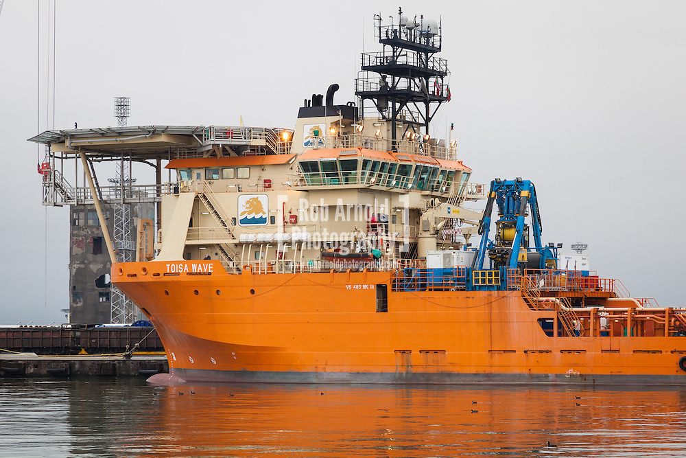 ROV Survey Support Vessel, Toisa Wave, alongside in the port of Burgas, Bulgaria. Photo by Rob Arnold