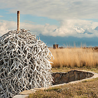 elk antlers stacked up on the national bison range, montana