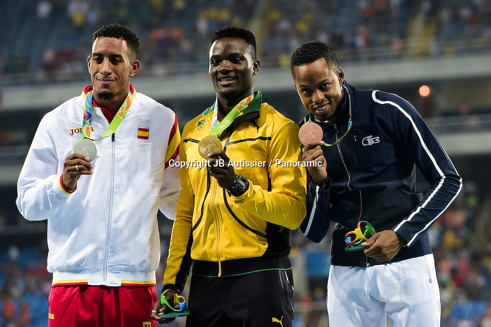 BASCOU Dimitri (fra) - medaille de bronze - podium 110m haies<br /> ORTEGA Orlando (esp) - medaille d argent<br /> McLEOD Omar (jam) - medaille d or