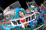 A member of the Blue Wiggers Fiji supporters group   in the Cathay Pacific/HSBC Hong Kong 7s at Hong Kong Stadium, Hong Kong, Hong Kong on 7 April 2017. Photo by Ian  Muir.*** during *** v *** in the Cathay Pacific/HSBC Hong Kong 7s at Hong Kong Stadium, Hong Kong, Hong Kong on 7 April 2017. Photo by Ian  Muir.