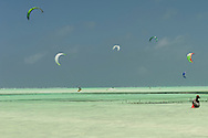 Kitesurfer at low tide on paje beach, zanzibar, tanzania
