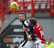 Dundee&rsquo;s Marcus Haber battles for the ball in the air with Hamilton&rsquo;s Alex Gogic - Hamilton Academical v Dundee in the Ladbrokes Scottish Premiership at the SuperSeal Stadium, Hamilton, Photo: David Young<br /> <br />  - &copy; David Young - www.davidyoungphoto.co.uk - email: davidyoungphoto@gmail.com