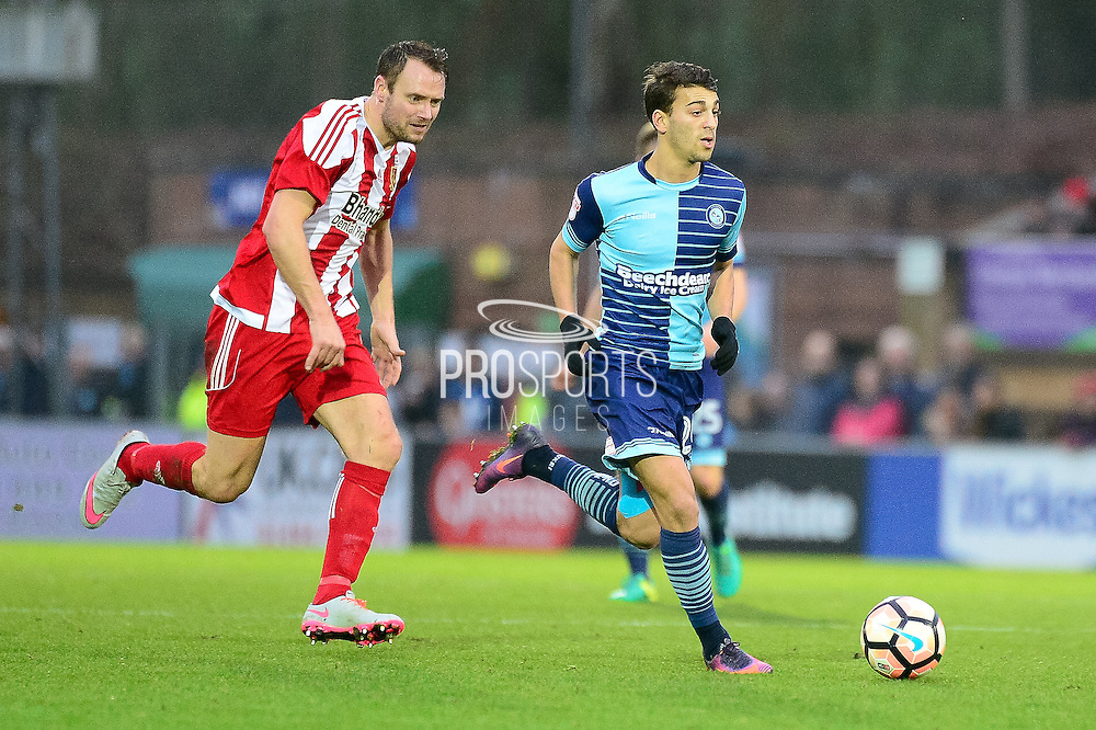 Wycombe Wanderers midfielder Scott Kashket (24) looks for options during the The FA Cup match between Wycombe Wanderers and Stourbridge at Adams Park, High Wycombe, England on 7 January 2017. Photo by Dennis Goodwin.