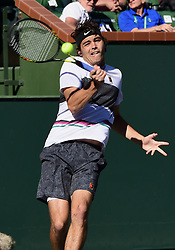 March 8, 2019 - Indian Wells, CA, U.S. - INDIAN WELLS, CA - MARCH 08: Taylor Fritz (USA) returns a shot in the first set of a match during the BNP Paribas Open played at the Indian Wells Tennis Garden in Indian Wells, CA. (Photo by John Cordes/Icon Sportswire) (Credit Image: © John Cordes/Icon SMI via ZUMA Press)