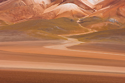 Colorful patterns of mineral rich hills on the Altiplano in the Sud Lipez, Bolivia,South America