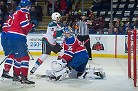 KELOWNA, CANADA - FEBRUARY 17:  Todd Scott #35 of the Edmonton Oil Kings allows a goal by the Kelowna Rockets during first period on February 17, 2018 at Prospera Place in Kelowna, British Columbia, Canada.  (Photo by Marissa Baecker/Shoot the Breeze)  *** Local Caption ***