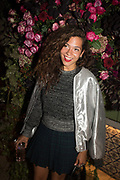 LILY BERTRAND-WEBB, spotted at Bloom & Wild's exclusive event at 5 Hertford Street last night. 5 September 2017. The event was announcing the new partnership between the UK's most loved florist, Bloom & Wild and British floral design icon Nikki Tibbles Wild at Heart. Cocooned in swaths of vibrant Autumn blooms, guests enjoyed floral-inspired cocktails from Sipsmith and bubbles from Chandon, with canapés put on by 5 Hertford Street. Three limited edition bouquets from the partnership can be bought through Bloom & Wild's website from the 1st September.  bloomandwild.com/WAH