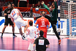 Marin Sipic of Croatia and Vladimir Cupara of Serbia during the handball match between National teams of Serbia and Croatia in Group A of Men's EHF EURO 2020 on January 13, 2020 in Stadhalle Graz, Graz, Austria