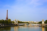 pont alexandre III La Seine bridge Eiffel Tower water front in Paris France