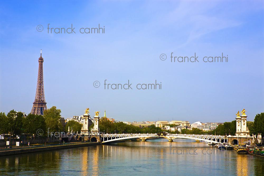 pont alexandre III La Seine bridge Eiffel Tower water front in Paris France