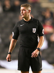 "Referee Rob Jones during the Carabao Cup, Second Round match at Stadium MK, Milton Keynes. PRESS ASSOCIATION Photo. Picture date: Tuesday August 22, 2017. See PA story SOCCER MK Dons. Photo credit should read: Scott Heavey/PA Wire. RESTRICTIONS: EDITORIAL USE ONLY No use with unauthorised audio, video, data, fixture lists, club/league logos or ""live"" services. Online in-match use limited to 75 images, no video emulation. No use in betting, games or single club/league/player publications."