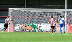 Steve Mildenhall of Bristol Rovers saves a penalty - Mandatory by-line: Neil Brookman/JMP - 25/07/2015 - SPORT - FOOTBALL - Cheltenham Town,England - Whaddon Road - Cheltenham Town v Bristol Rovers - Pre-Season Friendly