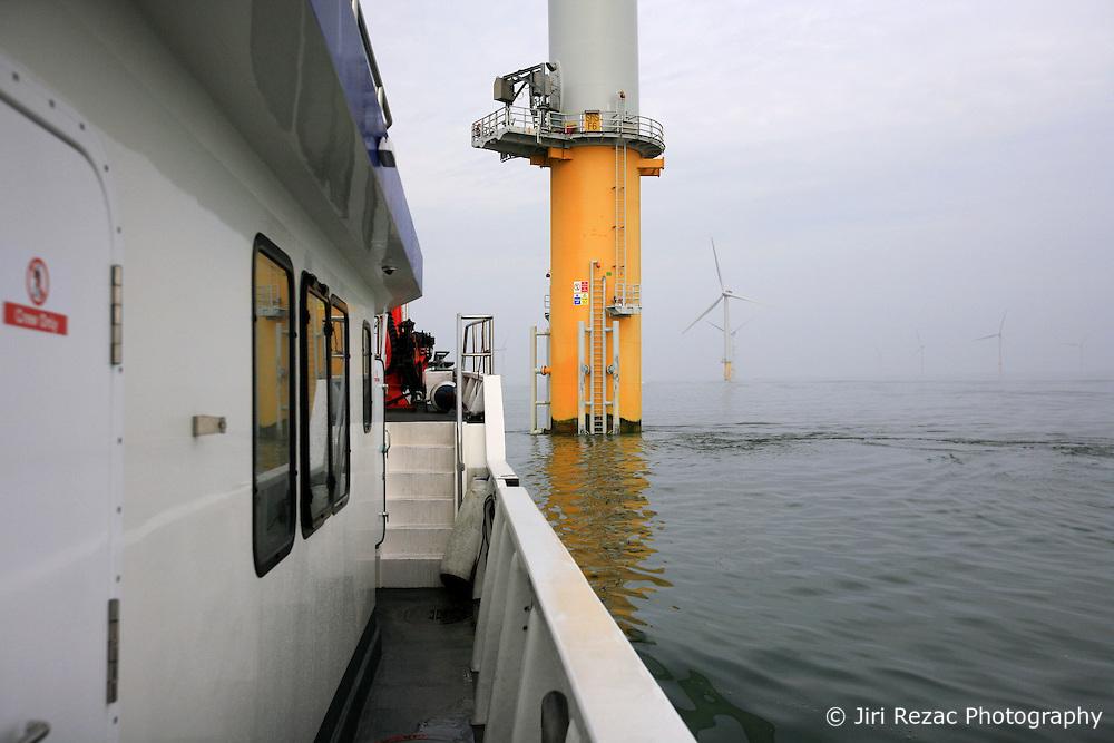 UK ENGLAND NORFOLK SHERINGHAM SHOAL 25SEP13 - Tidal Transit vessel Tia Elizabeth at work at the Sheringham Shoal wind farm off the Norfolk coast, England.<br /> <br /> <br /> <br /> jre/Photo by Jiri Rezac<br /> <br /> <br /> <br /> © Jiri Rezac 2013