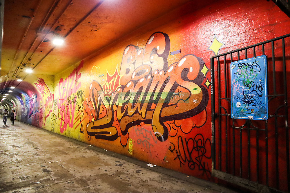 October 3, 2018 - New York, NEW YORK, UNITED STATES - Mural is seen throughout the length of a tunnel access to the 191 Street subway station of Line 1 on the island of Manhattan in New York in the United States this Wednesday, 03. William Volcov (Credit Image: © William Volcov/ZUMA Wire)