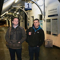 John Argo (left) and fellow traveller Pat Ruddy pictured at ScotRail's Dunkeld & Birnam railway station waiting for the 07.39 train to Edinburgh…01.12.16<br />Picture by Graeme Hart.<br />Copyright Perthshire Picture Agency<br />Tel: 01738 623350  Mobile: 07990 594431