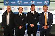 Auckland Under 18 players Oliver Shepherd and Jack Casey-Pickering  with their dads during the Auckland Rugby awards night held at Eden Park on the 25th of October 2017. <br /> Credit; Peter Meecham/ www.photosport.nz