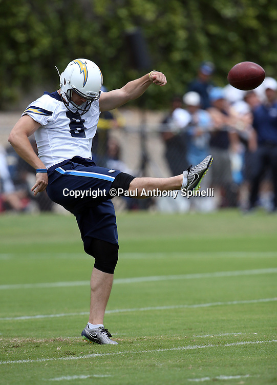 San Diego Chargers rookie punter Drew Kaser (8) punts during the Chargers 2016 NFL minicamp football practice held on Tuesday, June 14, 2016 in San Diego. (©Paul Anthony Spinelli)